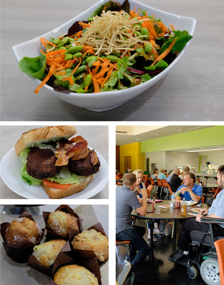 Refectory burgers, salads, muffins, breakfast, and guests