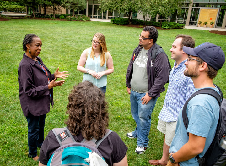 LSTC students talk in courtyard